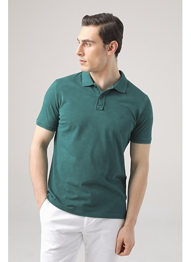 D'S Damat Regular Fit Safran Pike Dokulu T-Shirt Yeşil